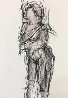 Female nude, life drawing, ink, charcoal, brush and stick. By Sue Bown