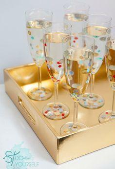 DIY Confetti polka dot glassware