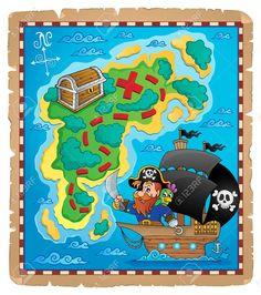 Mapa del tesoro y pirata.