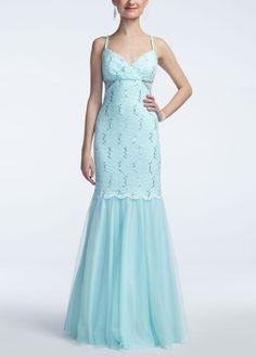 Spaghetti Strap Sequin Lace Trumpet Dress - David's Bridal