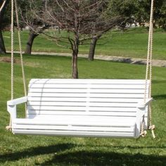 TMP Outdoor Furniture Countoured Classic White Front Porch Swing