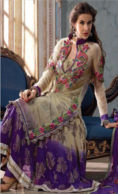 Beige and Deep #Purple Net #Churidar Kameez @ $90.38 | Shop @ http://www.utsavfashion.com/store/sarees-large.aspx?icode=slkhs130