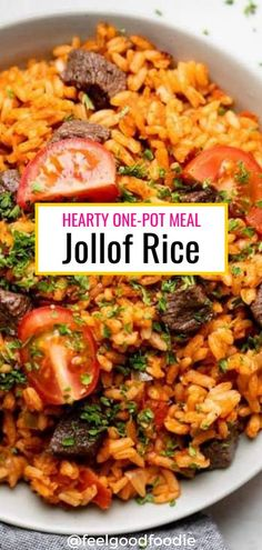 This jollof rice is a hearty and filling one pot meal that is packed full of flavor. Easy and quick to make and naturally gluten-free. It's basically rice cooked in a fragrant, flavorful and spicy tomato sauce, which can be left vegan or bulked up with beef or chicken. It has basic pantry items but amazing flavor that you'll love!