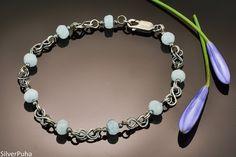Aquamarine small Celtic knot silver bracelet by SilverPuha on Etsy