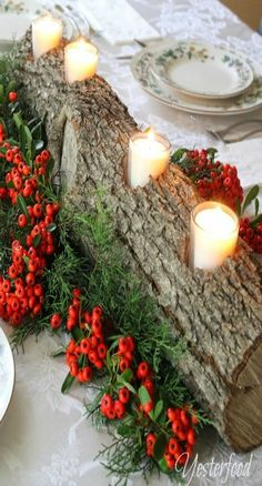 Rustic Log Centerpiece...my dad made many of these...for our home plus family and friends...he loved making Yule logs....