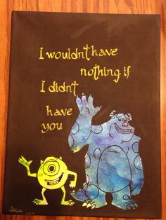 Monster's Inc. melted crayon art - Mike and Sulley. Made with: greens, purples, and blues for crayons; white paint, golden-yellow pain and black pain on white canvas.