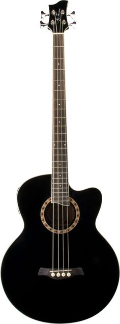 Jay Turser Black Acoustic Electric Bass 4 String Acoustic Bass with Cutaway, 4 band EQ active pickup. Spruce top, Mahogany back and sides with diecast machine heads. An integrated tuner ma Yamaha Bass Guitar, Bass Guitars, Black Acoustic Guitar, Instruments, Guitar Tutorial, Bass Amps, Double Bass, Guitar Design, Cool Guitar