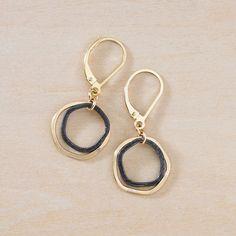 Freshie & Zero Mini Antique Caldera earrings | mixed metal gold and black small organic hammered circles