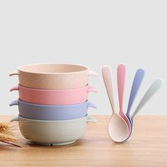 For Sale - 2 Pcs/Set Baby Feeding Food Tableware Wheat Kid Dishes Eco-Friendly Children Training Dinnerware Plate Bowl Spoon Toddler Plates, Baby Plates, Kids Dishes, Baby Dishes, Kids Kitchen Accessories, Dinner Bowls, Wheat Straw, Fruit Plate, Le Diner