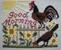 """Prairie Schooler rooster crowing """"Good Morning"""" Just Cross Stitch magazine (January/February Rooster Cross Stitch, Chicken Cross Stitch, Just Cross Stitch, Simple Cross Stitch, Cross Stitch Samplers, Cross Stitch Animals, Cross Stitching, Cross Stitch Embroidery, Cross Stitch Patterns"""