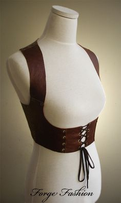 Leather Harness/Balero Top Natural Brown By Forge Fashion Making more leather samples. This item is now for Sale:- [link] Leather Harness Bolero Top Diy Fashion, Ideias Fashion, Fashion Design, Origami Fashion, Fashion Details, Old Fashion Dresses, Fashion Outfits, Corset, Chica Punk