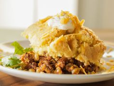 CAN USE GROUND CHICKEN Cornbread-Chili Casserole recipe from Trisha Yearwood via Food Network