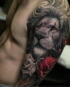 Amazing Lion Tattoo on Arm - Best Lion Tattoos For Men: Cool Lion Tattoo Designs. - Cool Tattoos For Men - 21 Tattoo, Lion Arm Tattoo, Lion Head Tattoos, Mens Lion Tattoo, Lion Tattoo Design, Leo Tattoos, Animal Tattoos, Body Art Tattoos, Tattoos For Guys
