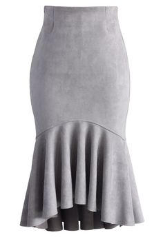 Sassy Suede Frill Hem Skirt in Grey - New Arrivals - Retro, Indie and Unique Fashion midi Led Dress, Dress Skirt, Peplum Skirts, Unique Fashion, Jw Mode, Jupe Short, Fashion Brand, Womens Fashion, Fashion Fashion