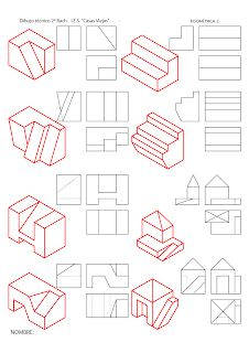 losmuertosdeldiedrico: PERSPECTIVA ISOMÉTRICA-croquis Isometric Drawing Exercises, Isometric Art, Isometric Design, Geometric Drawing, Geometric Logo, Color Wheel Design, Orthographic Drawing, 3d Drawing Techniques, Geometry Activities