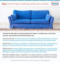Dica para limpar o sofá de acordo com o tecido.