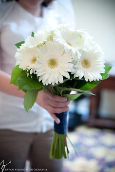 Bridal bouquet of white gerberas
