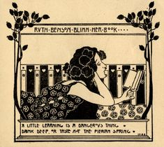 Ex libris – Ruth Benson Blinn Artist: Kálmán Rozsnyay (Hungarian, 1902 (via) Ex Libris, Girl Reading Book, Owl Books, Jewish Art, Book Images, Belle Epoque, Pretty Pictures, Amazing Art, Hand Lettering