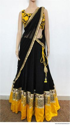 Half Saree Designs Black Yellow Half Saree