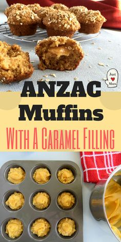 Delicious Anzac Muffins with all the flavours you love. Made extra special with the addition of a caramel filling. Muffin Recipes, Cupcake Recipes, Baking Recipes, Cupcake Cakes, Vanilla And Chocolate Cupcakes, Best Lunch Recipes, Anzac Biscuits, Caramel Recipes, Classic Desserts