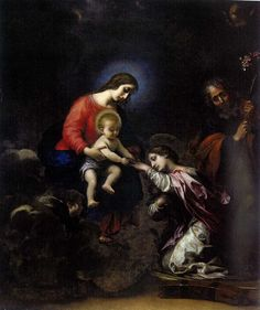 CARLO DOLCI (Florence, 1616 – 1687)  The Mystic Marriage of Santa Caterina d' Alessandria  Oil on canvass, cm. 72,5 x 61