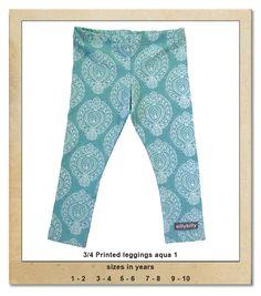 Sillybilly© clothing: 3/4 printed leggings aqua 1 Printed Leggings, Summer Collection, Aqua, Pajama Pants, Pajamas, Girls, Clothing, Prints, Fashion
