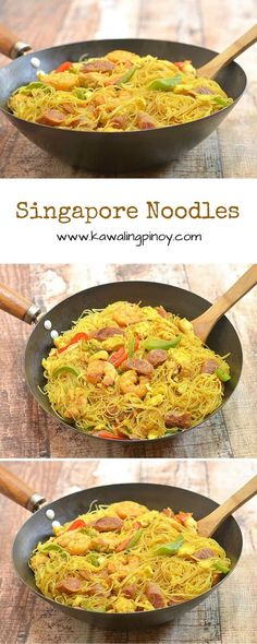 Singapore noodles is a delicious noodle dish made with rice vermicelli shrimp chicken Chinese sausages bell peppers and bean sprouts and flavored with curry powder. It's a substantial one pot meal that's so much better than take-out! Pot Pasta, Pasta Dishes, Egg Noodle Dishes, Asian Recipes, Healthy Recipes, Ethnic Recipes, Indonesian Recipes, Orange Recipes, Healthy Food