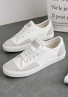 White Round Toe Flat Splicing Lace-up Casual Shoes Available Sizes Heel Height :Flat Boot Shaft :Ankle Color :White Toe :Round Shoe Vamp :Canvas Closure :Lace-up Fashion Flats, Sneakers Fashion, All White Shoes, Men's Shoes, Dress Shoes, White Toes, Best Shoes For Men, Chanel Shoes, Best Sneakers