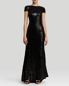 Badgley Mischka Gown - Cap Sleeve Cowl Back Sequin on shopstyle.com