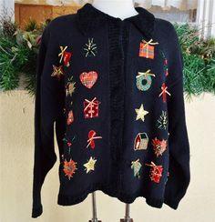 Ugly Christmas Sweater XL Croft Barrow Wreath Tree Poinsetta Candy Cane Black #CroftBarrow #Cardigan