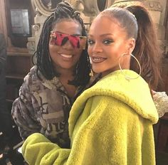Rihanna and singer, Ludmila, backstage at the FENTYxPUMA Fashion Show in Paris.