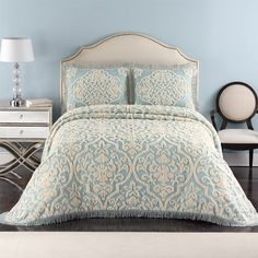 Layla Chenille Blue and Linen Bedspread