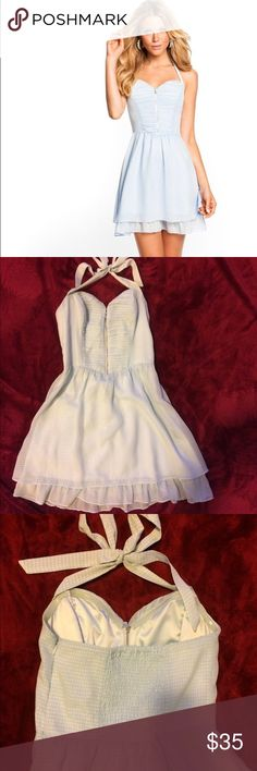 Guess Mirage Ingrid Halter Dress 2 In perfect condition. Worn only once or twice. Color is pale blue with a silver zipper down the front. The back has an elastic stretch which makes it very comfortable. Can be dressed up or worn casually :) open to trading and reasonable offers. Guess Dresses Mini