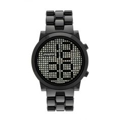Phosphor Watch with Swarovski revolving crystals to show the time Black Bracelets, Crystal Bracelets, Black Crystals, Swarovski Crystals, Crystal Uses, Black Nylons, Digital Watch, Bracelet Watch, Watches For Men