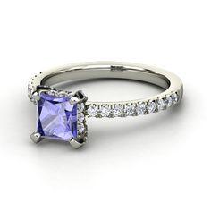 Princess Tanzanite Palladium Ring with Diamond | Carrie Princess Ring: Love it