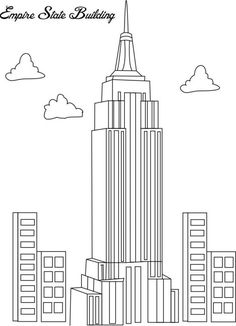 Coloring pages buildings ~ Empire State building pattern. Use the printable outline ...