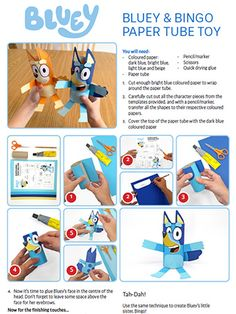 Paper Tube Toy - Andy's bluey party - Abc Party, Party Themes, Party Ideas, Dog Birthday, 3rd Birthday Parties, Birthday Ideas, Abc For Kids, Crafts For Kids, Bingo