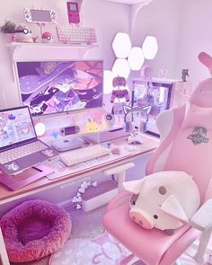 Girl Bedroom Walls, Room Ideas Bedroom, Girl Room, Room Decor, Gaming Room Setup, Pc Setup, Kawaii Bedroom, Pastel Room, Cute Room Ideas