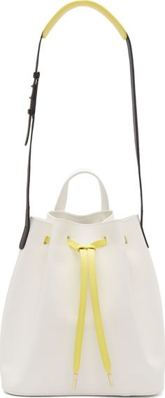 PB 0110 White Colorblocked Leather Bucket Bag