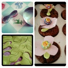 Flower cupcakes. Leaves made very quick with adjusted cookie cutter :-)