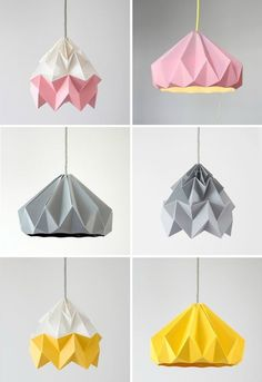 Studio Snowpuppe: Moth Paper Origami Lamps in pink and white, grey, gold yellow and white // Chestnut Paper Origami Lampshade in pink, grey and gold yellow #OrigamiLamp