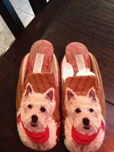 Westie Needlepoint Slippers with art by Amy Jo Gladstone