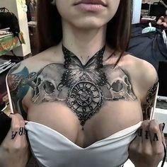 Chest tattoo tattoos tattoos, chest tattoo и chest piece tat Chest Tattoos For Women, Chest Piece Tattoos, Pieces Tattoo, Tattoo Women, Female Chest Tattoo, Chest Tattoo Designs Female, Back Piece Tattoo, Cool Chest Tattoos, Tattoo Girls