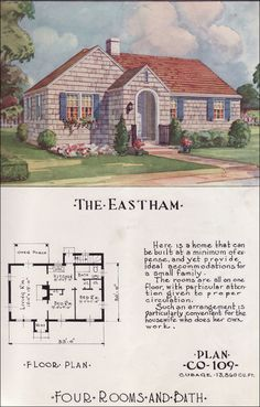 1950 Eastham - Nationwide House Plan Service Like many house plan companies after WWII, Nationwide which had been in business prior to the War, republished many of its pre-War plans. This small cottage dated back to the 1930s with its tiny Depression Era footprint and modest proportions. It was, nevertheless, a dream come true for GIs and their young families. This plan has only the tiniest hall ... and no wasted space yet has a number of amenities like the large living room with a…