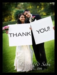 'thank you' photo for the thank you cards... but each hold the words 'thank you' in their native language... (could do the same on the favors?)