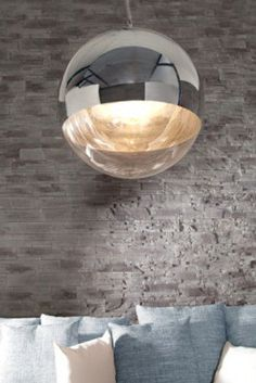 Haengelampe-Haengeleuchte-Pendellampe-Kugel-SPHERE-Glas-Chrom-30cm-Retro-Design