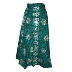 Wrap Skirt Gift for Her- Teal Green Peasant Skirt Women's Fashion Cotton Boho Skirt: Clothing  $26.95