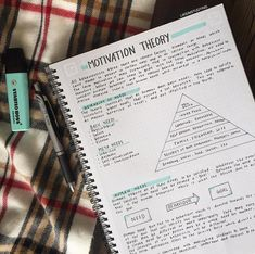 Motivation Theory on We Heart It School Organization Notes, Study Organization, College Notes, School Notes, Pretty Notes, Good Notes, Studyblr Notes, Psychology Notes, Bullet Journal Notes