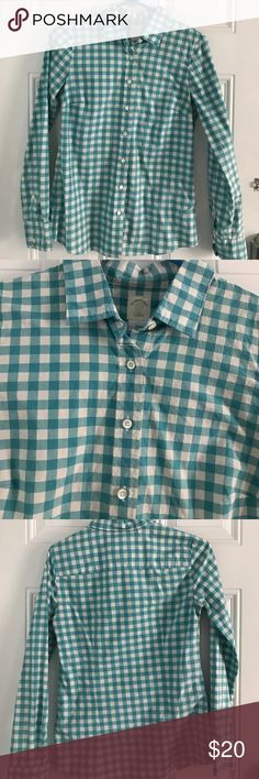 J. Crew Turquoise Gingham Button-Up J. Crew turquoise and white gingham button-up. 100% cotton. J. Crew Tops Button Down Shirts