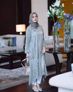 Kondangan ready with this beautiful piece from x , in love with its pretty lace and beads 💛 Kebaya Modern Hijab, Kebaya Hijab, Kebaya Dress, Dress Pesta, Dress Muslim Modern, Dress Brokat Modern, Muslim Dress, Hijab Evening Dress, Hijab Dress Party